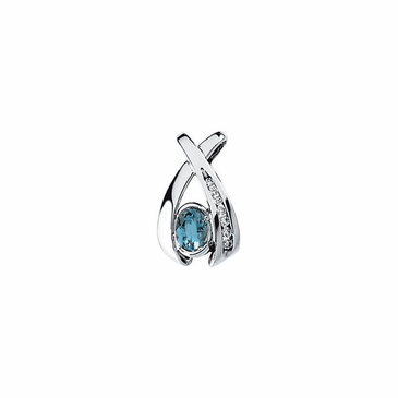 Oval aquamarine with diamond Pendant