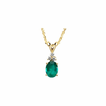 Oval Emerald and Diamond Studded Necklace- 14K Yellow Gold