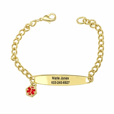 Oval Goldtone Medical Alert Charm Bracelet - Personalized