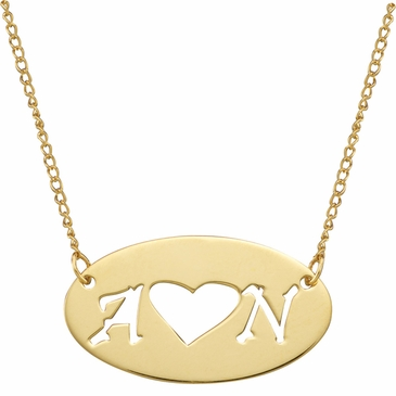 Oval Initial and Heart Necklace