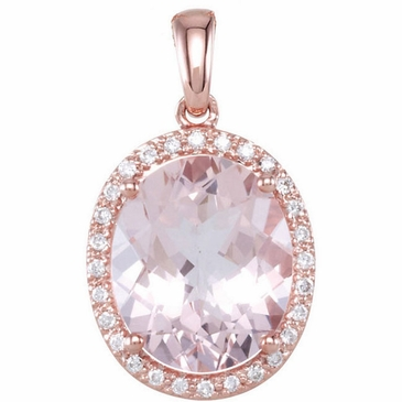 Oval Morganite & Diamond Pendant