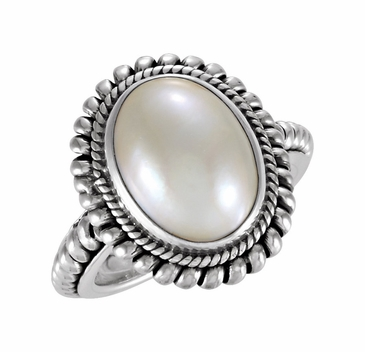 Oval Sterling Silver Cultured Mabe Ring with Pearl