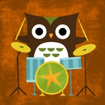 Owl Band Drummer Stretched Art by Dish and Spoon