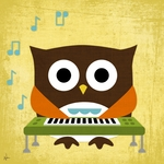 Owl Band Keyboardist Stretched Art by Dish and Spoon