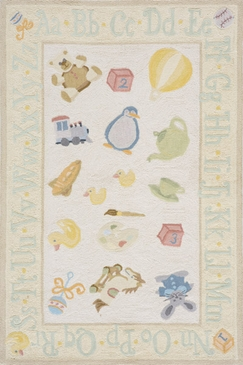 Pale Yellow Classic Alphabet Toys Rug