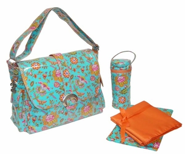 Paradise Aqua - Coated Buckle Diaper Bag by Kalencom