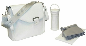 Patent Cream - Ozz Iridescent Diaper Bag by Kalencom