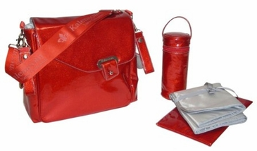 Patent Red - Ozz Iridescent Diaper Bag by Kalencom