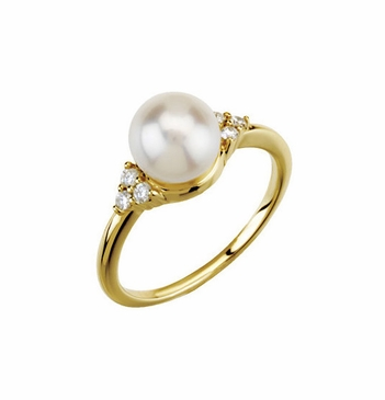 Pearl and diamond love ring