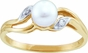 Pearl and Diamond White Gold Ring - click to Enlarge