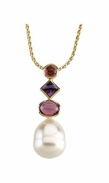 Pearl and Multi-colored Gemstone Pendant