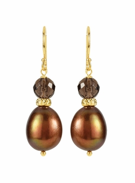 Pearl and Quartz Earrings with Ear Wire - Yellow Gold