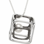 Pearl pendant with a Sterling silver Cube - click to Enlarge