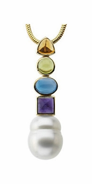 Pearl Pendant with Multi-Gemstone Studs