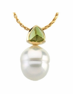 Peridot and South Sea Pearl Pendant