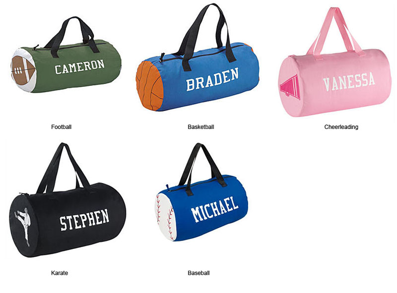 f7cc89b014ae Personalized Canvas Sports Kids Duffel Bag.  44.00