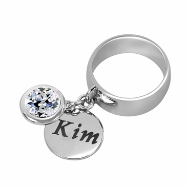 Personalized Charm and April Birthstone Ring