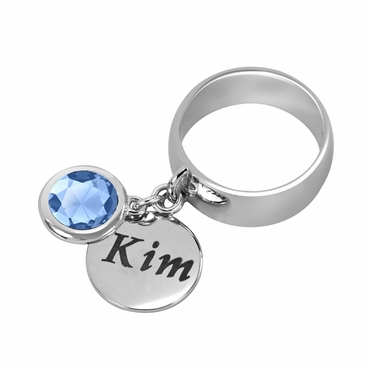 Personalized Charm and Birthstone Ring