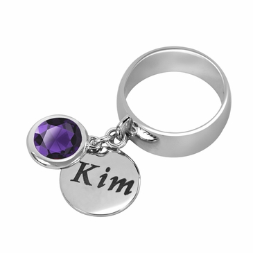 Personalized Charm and February Birthstone Ring