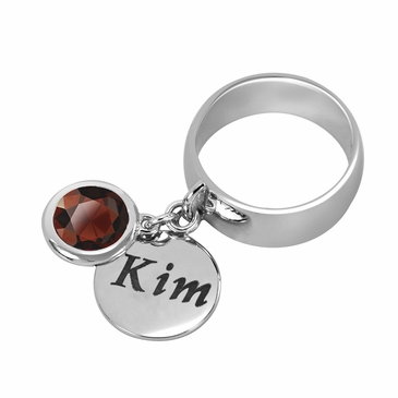 Personalized Charm and January Birthstone Ring