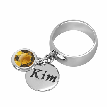 Personalized Charm and November Birthstone Ring
