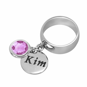 Personalized Charm and October Birthstone Ring