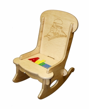 Personalized Child's First Puzzle Rocking Chair Train