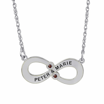Personalized Couple's Forever Birthstone Necklace - January