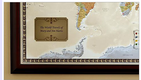 Personalized Framed World Map Bliss Living - Personalized world map with pins