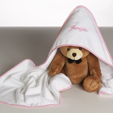 Personalized Hooded Towel with Teddy Bear Gift Set - Girl