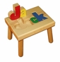 Personalized Small Wooden Puzzle Stool Primary Colors/White - click to Enlarge
