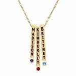 Personalized Linear Birthstone Necklace 10k Gold