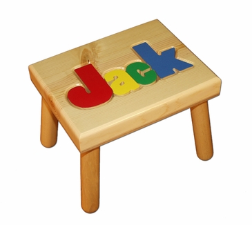 Personalized Small Wooden Puzzle Stool Primary Colors