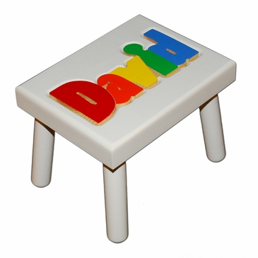 Personalized Small Wooden Puzzle Stool Primary Colors/White