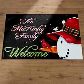 Personalized Snowman Doormat with Family Name