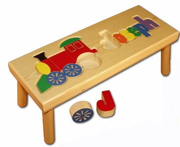 Personalized Train Wooden Puzzle Stool