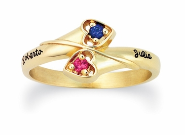 Personalized Winding Hearts Gold Birthstone Ring - with Genuine Stones