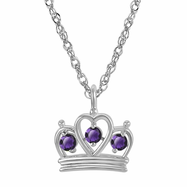 Petite Crown Birthstone Pendant Necklace