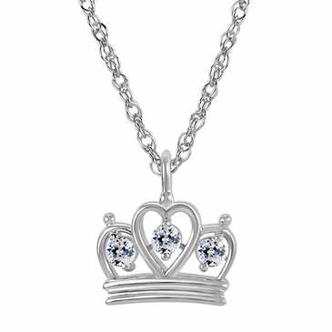 Petite Crown Birthstone Pendant Necklace - April