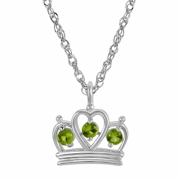 Petite Crown Birthstone Pendant Necklace - August