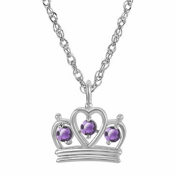 Petite Crown Birthstone Pendant Necklace - June