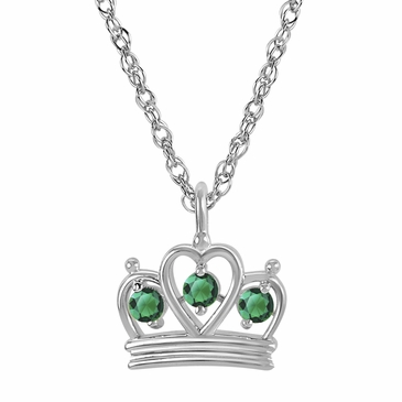 Petite Crown Birthstone Pendant Necklace - May