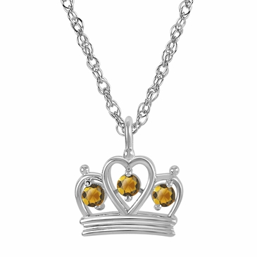 Petite Crown Birthstone Pendant Necklace - November