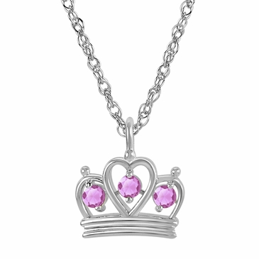Petite Crown Birthstone Pendant Necklace - October