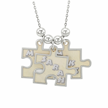 """Pieces of Love"" Puzzle Style Family Necklace"