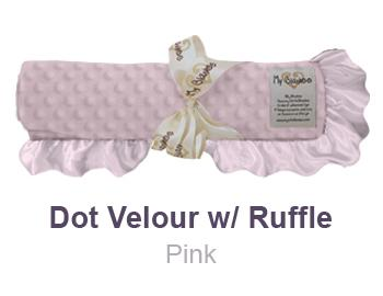 Pink Dot Velour with Ruffle Trim Blanket by My Blankee
