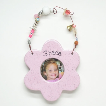 Pink Flower Picture Frame - Personalized