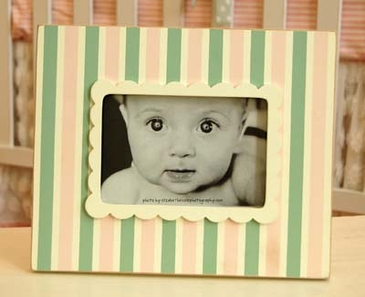Pink & Green Stripe Picture Frame
