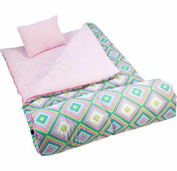 Pink Retro Kids Sleeping Bag