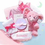 Pink Velour Baby Gift Basket for Girl - Personalized   Price: $145.00